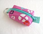 Boxy Little Pouch Key Chain, Split Key Ring - Pink Mochi Hot Cross Buns