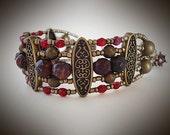 Elegant Red Jasper Cuff Bracelet ~ Adjustable, Cuff Bracelet, Renaissance, Beaded, Boho, Gift for Her