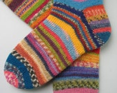 hand knitted womens wool socks, UK 6-8 US 8-10, knitted crazy socks, fun happy socks, muticolored socks, mismatched socks, unique socks
