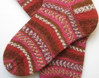 socks, hand knitted womens wool socks, UK 5-7 US 7-9, striped ladies socks, patterned socks, pink brown socks, handknit socks, original gift