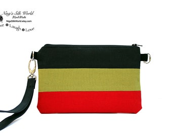 Wristlet Smartphone Cellphone Wallet iPhone 7, 6 plus Samsung Galaxy S7, S6 Card Holder Zipper pocket Black Green Red Strip