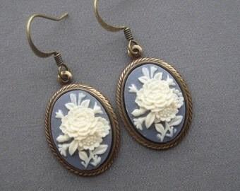 Cameo Earrings - Flower Jewelry - Violet Blue Jewelry - Victorian Jewelry - Blue Grey Earrings - Violet Blue Earrings - Romantic Jewelry
