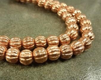 Copper Beads Corrugated Round 6mm Shiny 20pcs