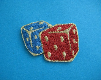 Iron-on embroidered Applique  Rolling Dices 1.5 inch