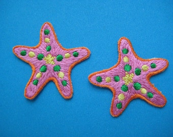 2 pcs Iron-On embroidered Patch Starfish 1.5 inch