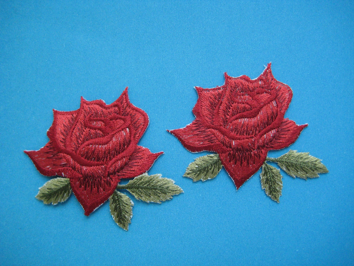 Pcs iron on embroidered patch red rose inch