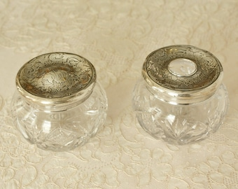 Pair Antique Sterling Silver and Glass Vanity Powder Jar, Hair Receiver