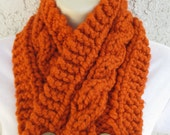 Cabled Buttoned Neck Warmer in Pumpkin (Burnt Orange) or Spice (Dark Burnt Orange) READY TO SHIP