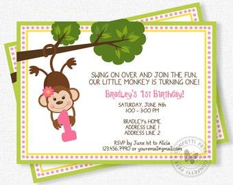 Monkey birthday invitation first birthday invite printable monkey birthday invitation girl monkey birthday monkey party invite first birthday invitation filmwisefo
