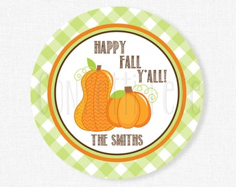 Happy Fall Y'All Tag, Pumpkin Tags, Pumpkin Party Favors, Gift Tags, Pumpkin Birthday, Personalized