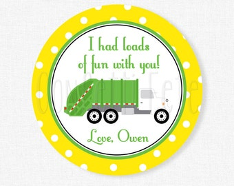 Garbage Truck Favor Tags, Garbage Truck Birthday Party Favors, Boy Birthday Tag, Garbage Truck Tag, Yellow Dot Tag, Personalized