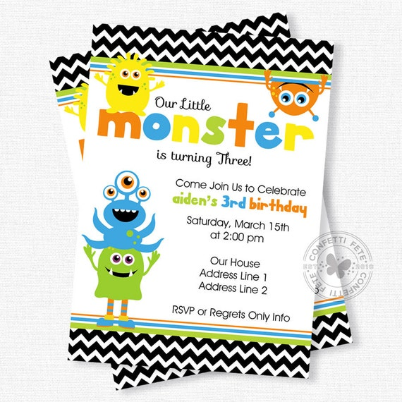 Monster Birthday Invitation, Little Monster 1st Birthday, Monster ...