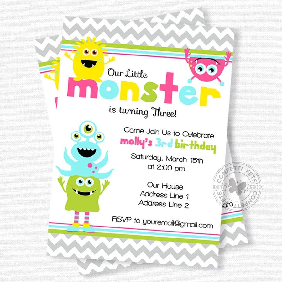 Monster Birthday Invitation Little Monster 1st Birthday