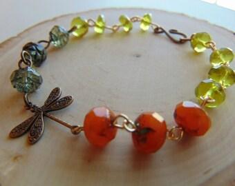 Brass-Dragonflyl and Glass Bracelet