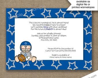 Dallas Cowboys Baby shower invitations, football baby shower invites, boy baby shower invitations, printed or digital