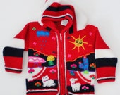 Vintage 80s Llama Red Folk Art Sweater - Kids 2T - Childrens Hooded - Sun Rain Cardigan, Peru