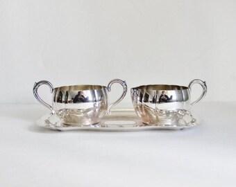 50% half off sale // Vintage 50s Oneida Tudor Plate - Creamer Sugar Tray Set - silver plate