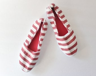 Vintage Red and White Striped Slip On Flats - Women 6M - Early 90s, 2 Pairs Availables