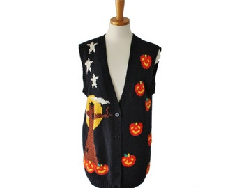 Vtg 80s Halloween Sweater Vest - Women S M - Busy, Pumpkin, Baxter and Wells