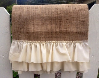 Burlap Table Runner - Shabby Chic