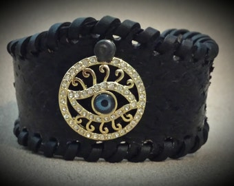 Evil Eye Lucky Charm Leather Bracelet