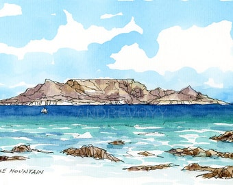 TABLE MOUNTAIN  South Africa art print from an original watercolor painting