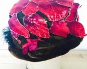 Sale...Antique 1920s hot pink aged velvet flowers millinery hat/feathers/Ombré leaves