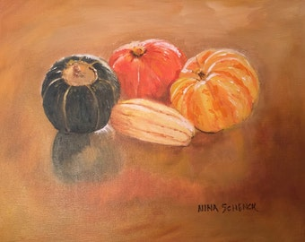 Sitting Pretty - Fall arrangement-pumpkins, squash, gourds. Original oil painting.
