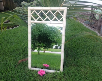 FAUX BAMBOO CHIPPENDALE MIRROr / Chippendale Style Faux Bamboo Mirror Hollywood Regency Chippendale Palm Beach Style at Retro Daisy Girl