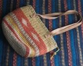 Sisal Jute Market Bag with Leather Straps Southwestern Style