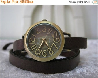 Leather Watch-Women wrist watch-Leather Wrap Watch Bracelet Antique Leather Watch- brown Genuine leather retro Watch- bracelet wrist watch