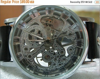 Steampunk Skeleton Mechanical Mens Mechanical wristwatches Steampunk Watch Black -Wrist Watches -Leather Watches-Men's Women's Retro Watches