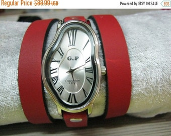 Leather Watch-Women wrist watch-Gold Ladies Watch Dali Fluid RED Leather Wrap Watch- Wrist Watch -Leather Watches - Women's Watches