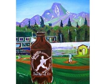 Denali Brewing, Louisville Sour, Alaska Beer Art, Alaska Baseball League, Baseball and Craft Beer Art, Gift for Husband, Gift for Boyfriend