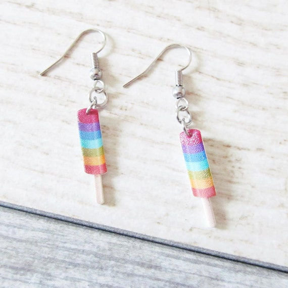 Small, popcycle, colors, life savor,  earrings, shrink plastic, stainless hook, handmade, les perles rares