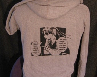 large, light gray, anime punk, guns and anarchist literature Hoodie