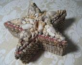 vintage souvenir star shaped shell covered trinket box