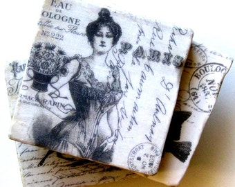 Coaster set. Coasters for a Francophile. French coasters. Ceramic coasters. Coasters for a French lover.