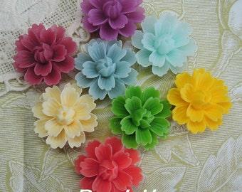 20%off -710-00-CA  16pcs (18mm x 27mm) Beautiful  Chrysanthemum Resin Flower Cabochons,Mix -Colour