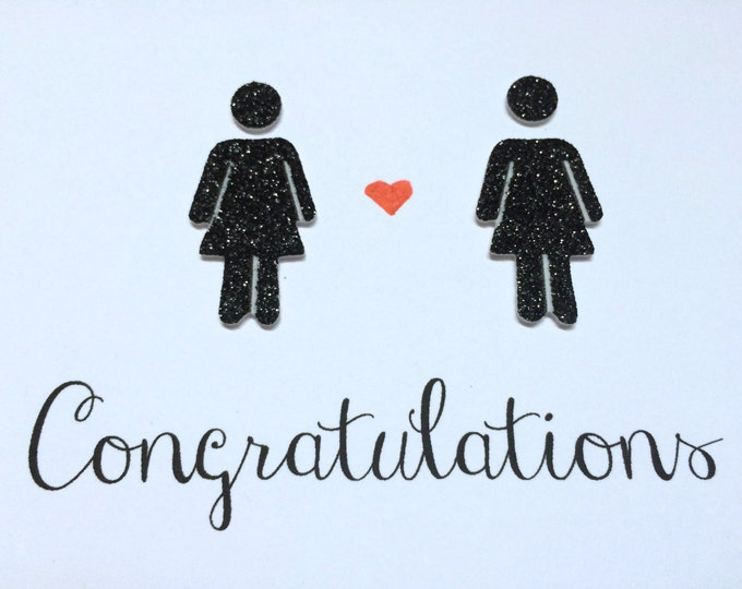 Congratulations Gay Wedding Card, With Two Glittery Women, lesbian, hand drawn, made on recycled paper, comes with envelope and seal