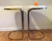 """Hold for T of G till midnight 1/10/17 MODERN CANTILEVERED STOOLS Pair Gold by Cal-Style Furniture 1985 Milo Baughman Style 30"""" Height at M"""