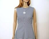 Vintage 1970s Dress Empire Waist Princess Navy Blue White Dress / Small to Medium