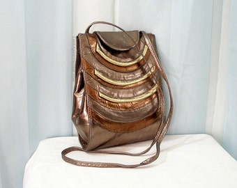 Vintage 1980s Metallic Cross Body Bag Bronze Copper Gold Look Leather Shoulder Handbag