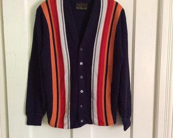 1960's Mod Striped Ivy League Colorful Striped Cardigan Sweater looks size Medium