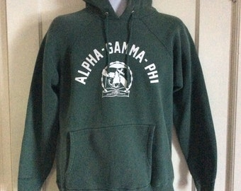 1960's Alpha Gamma Phi College Dark Green thick cotton Hoody Sweatshirt Anchor Tree looks size M to L