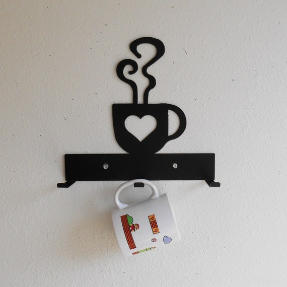 Coffee Cup Rack / Three Cup Holder / Metal Wall Hanging / Kitchen Organizer / Kitchen Decor