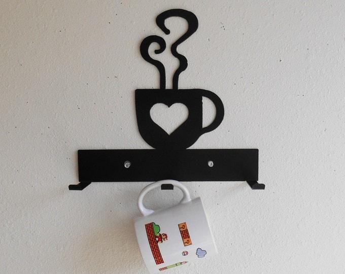 Coffee Cup Rack / Three Cup Holder / Metal Wall Hanging / Kitchen Organizer / Kitchen Decor