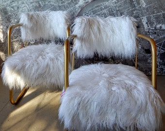 MCM pair chairs faux fur lamb Mongolian custom gold off white mid century