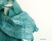 Sea blue green hand felted scarf, wool silk nuno felting for her