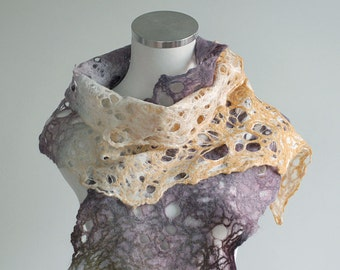 Lace scarf hand felted, light and airy, purple, orange